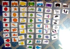 Color sorting activity - simple color graphic with name printed underneath - kids take turns putting their card on magnetic board under correct color (Walk Beside Me)