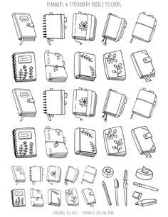 Handdrawn little doodle planners inspired by bullet journals, the Midori and Filofax. and stationery supplies, perfect to use as printable stickers! Bullet Journal Art, Bullet Journal Ideas Pages, Bullet Journal Inspiration, Art Journal Pages, Bullet Journals, Doodle Drawings, Doodle Art, Stickers Printable, Free Printable