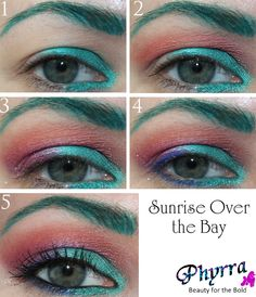 Sunrise Over the Bay Tutorial with @Sugarpill Cosmetics Cosmetics and @Chrystal von Ward Miller #crueltyfree #beauty #makeup #teal #pink #orange