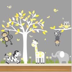 56 Ideas baby nursery layout animal prints for 2019 Baby Boy Rooms, Baby Bedroom, Baby Room Decor, Baby Boy Nurseries, Baby Boys, Nursery Decals, Nursery Room, Girl Nursery, Wall Decals