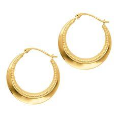 14K Yellow Gold Round Hoop Earrings, Diameter 20mm