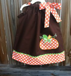 Pumpkin Thanksgiving & fall pillowcase dress by Valentinasplace, $28.00