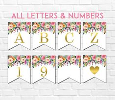 Buy Now Floral Printable Banner Alphabet A-Z & Numbers Pink. Happy 60th Birthday, Happy Birthday Banners, Birthday Decorations, Printable Banner Letters, Printable Tags, Pendant Banner, Floral Printables, Free Printables, Baby Shower Items