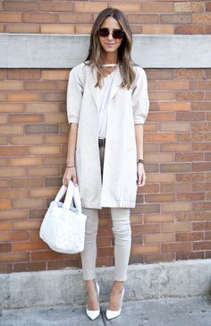 Arielle of Something Navy opts for chic comfort wearing the J BRAND Luxe Sateen Super Skinny in Tavertine at #NYFW. #FallforJBRAND