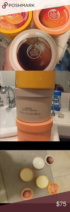 Brand new tubs of body shop butter Karite and two mango body butter tubs from the body shop brand new never used smell amazing 13.5 oz each The body shop Accessories