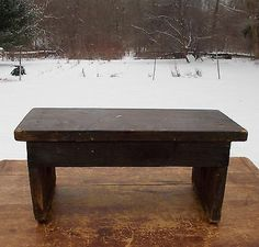 Primitive Farmhouse Old Wood Foot Stool.