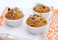Gezonde pompoenmuffins met pecannoten Healthy Pastry Recipe, Pastry Recipes, Baking Recipes, Healthy Treats, Healthy Baking, Healthy Food, I Love Food, Good Food, Baking Cupcakes