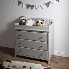 South Shore Cotton Candy Changing Table With Drawers, Soft Gray   South  Shore Furniture