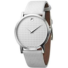 Movado Women's 'Museum' Stainless Steel Case Leather Strap Watch