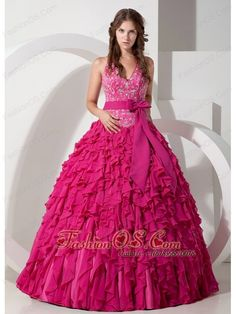 Exclusive Hot Pink Ball Gown Halter Quinceanera Dress Chiffon Embroidery Floor-length  http://www.fashionos.com  http://www.facebook.com/quinceaneradress.fashionos.us  So gorgeous ball gown dress includes design of halter neck which is generally considered more provocative than other style. You can find that floral applique decorate the whole bodice which looks charming. A coordinating waist sash accent with a bow adds interest and detail to the mid-section of the dress.