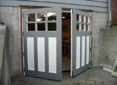 Hand-made custom real swing out or swinging carriage door, carriage house garage doors, & hinged carriage doors with unparalleled craftsmanship, materials & finishing services that are built to last for years by Vintage Garage Door, LLC in Seattle WA. Swing Out Garage Doors, Carriage House Garage Doors, Custom Garage Doors, Diy Garage Door, Garage Door Makeover, Wood Garage Doors, Carriage Doors, House Doors, Diy Door