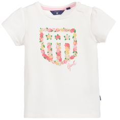 Baby girls, short-sleeved ivory Gant t-shirt with a round ribbed collar. Made in a soft stretch cotton jersey, it has a logo and shield on the front, in a pretty pink, yellow and green floral print. There are popper fastenings on the shoulder for easier dressing.<br /> <ul> <li>92% cotton, 8% elastane (soft jersey feel)</li> <li>Machine wash (40*C)</li> <li>Popper fastenings on the shoulder</li> <li>Designer colour: Eggshell</li> </ul>