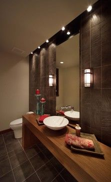 Love the mood of this bathroom!