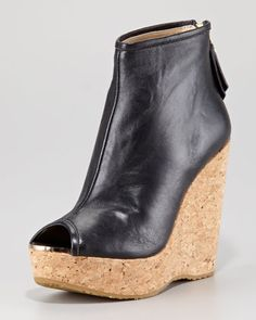 Paw Cork-Wedge Leather Bootie by Jimmy Choo at Neiman Marcus.