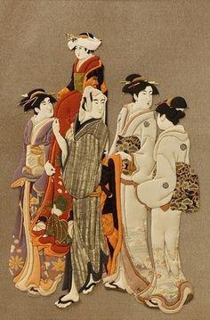 Museum of Ukiyoe with SILK / In Paris Japanese Paper, Japanese Kimono, Kabuki Costume, Shadow Box Art, Papercutting, Dollhouse Dolls, Japanese Culture, Geisha, Dollhouses