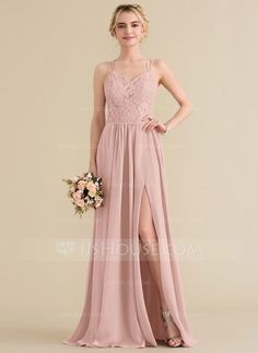 9777c6eb9e647 A-Line Princess Sweetheart Floor-Length Chiffon Lace Bridesmaid Dress With  Split Front - Bridesmaid Dresses - JJsHouse