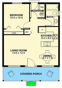 Tiny Cottage Home with Covered Front Porch - floor plan - Main Level Guest House Plans, Small House Floor Plans, Cabin Floor Plans, Tiny Cabin Plans, Cabin Kits, Tiny House Cabin, Tiny House Living, Small Room Design, Tiny House Design