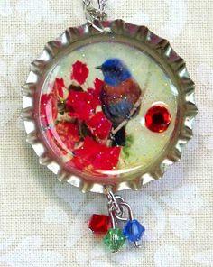 Blue Bird Necklace Bottle Cap Necklace Vintage by IngridsCreations