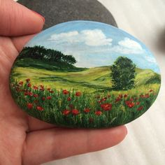 by: @_senichka_ann ...Fields of poppies,beautifully painted on stone!