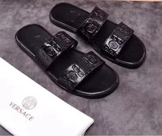 a2b6be408170 black versace medusa slides leather