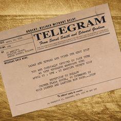 vintage telegram invitation - printable file. $30.00, via Etsy.