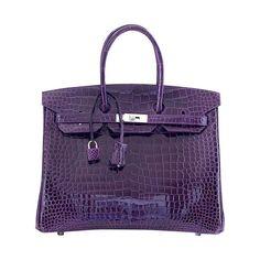 HERMES BIRKIN 35 jewel toned Amethyest Porosus Crocodile Palladium | From a collection of rare vintage handbags and purses at http://www.1stdibs.com/fashion/accessories/handbags-purses/