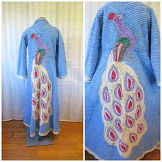 Vintage Chenille Peacock Dressing Robe 1940s Deco Loungewear