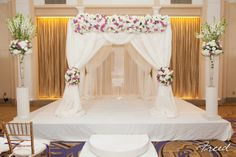 #chuppah of #white and #lavender at The #Mayflower Hotel- #PalmCourt Ballroom