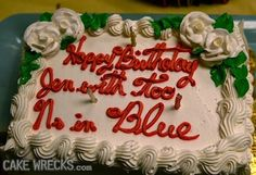 """""""Happy Birthday Jen with too N's in Blue""""   How is this possible???"""