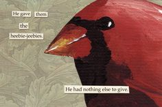 The Mincing Mockingbird Scary Birds, Funny Birds, Bird Quotes, D D Characters, Fire Emblem, Bird Art, Greeting Cards, Drawings, Artwork