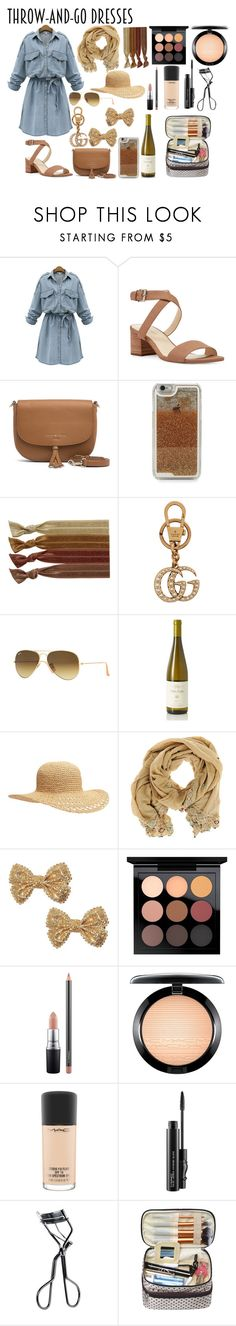 """Throw and Go"" by xautumnxrainx ❤ liked on Polyvore featuring WithChic, Nine West, Tommy Hilfiger, LMNT, Ribband, Gucci, Ray-Ban, Old Navy, Imayin and MAC Cosmetics"