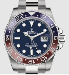 Baselworld 2018. The Rolex GMT Master II Pepsi in white gold gets a BLUE dail.