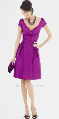 ShopStyle: V-Neck Cap Sleeve Bridesmaid Dresses by Alfred Sung from Dessy Group