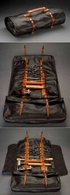 This bespoke Bob Smith Coachworks leather tool roll makes me drool!... a replica of the kind that came with the Ferrari 250, does a beautiful job of not only keeping the tools secure, but revealing them completely by means of the unfolding side flaps.
