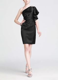 You'll be sure toturn up the heatlike a true fashionistain this sizzlingone shoulder bridesmaid dress!  This short one shoulder charmeuse dressis adorned with chunky stone embellishment for ultimate appeal.  Features flutter sleeve for dramatic affect.  Amust have for your dresscollection,this is aperfect wear again look.  Fully lined. Back zip. Imported polyester. Dry Clean Only.  Sizes and colors are available in limited ...