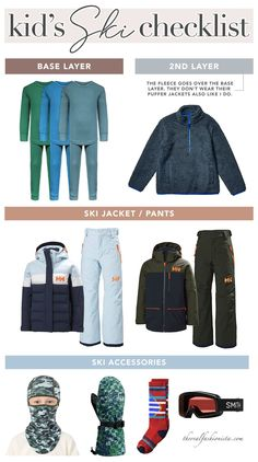 how to dress kids for skiing checklist #skiing #kids #kidsclothes #winterclothes #packinglist Boyish Style, My Style, Family Ski, Ski Pants, Park City, Workout Tops, Vacations, Skiing, What To Wear
