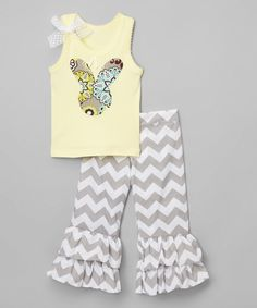 So Girly & Twirly Yellow Bunny Tank & Gray Pants - Infant, Toddler & Girls by So Girly & Twirly #zulily #zulilyfinds