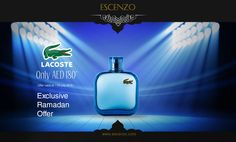 Lacoste Eau De Bleu for men is available on our price 180 AED in Ramadan offers. Order here: http://escenzo.com/ramadan-offers/lacoste-eau-de-lacoste-bleu-edt-100ml