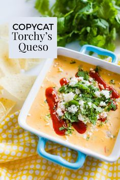 Make the most amazingly incredible queso dip from Torchy's Tacos in Austin Texas. This copycat recipe will blow your socks off. Yum!