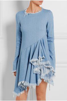 Light-blue denim Concealed zip fastening along back 70% rayon, 28% cotton, 2% polyurethane Machine wash Imported