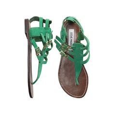 Steve Madden Sahara Sandal found on Polyvore featuring polyvore, fashion, shoes, sandals, flats, sapatos, zapatos, buckle sandals, emerald green flats and gladiator flats sandals