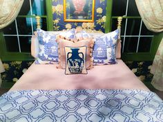 Blue and white on the guest bed