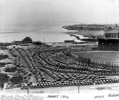 Maple Leaf Stadium (with Maple Leaf Park at Hanlan's Point in the background) Old Photos, Vintage Photos, West Village, Landscape Photos, Back In The Day, Ontario, Toronto, Past, Canada