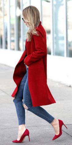 Helena Glazer + tailored red coat + cropped destroyed knee skinny jeans + red pointed toe pumps  Coat: Vince, Denim: Topshop, Bodysuit: Only Hearts, Shoes: Manolo Blahnik, Sunglasses: Fendi. Spring Outfits
