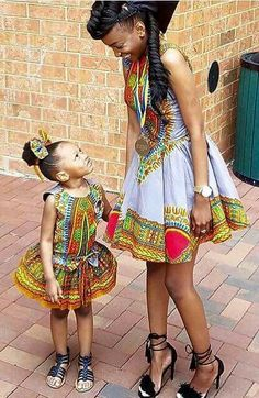 Afro-inspired print mum and daughter matching outfit African Inspired Fashion, African Print Fashion, Africa Fashion, African Prints, African Babies, African Children, African Women, African Attire, African Wear