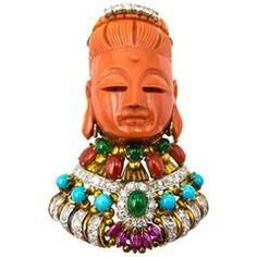 Bejewelled Coral Goddess Guan of Mercy Brooch