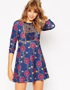 Image 1 of ASOS 60's Floral Print Shift Dress with Lace Bib
