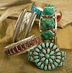Turquoise & Silver Jewelry.  (Navajo & Zuni styles)