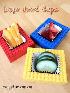 These are so much fun! Fill them with healthy food options and your picky eater might not even blink! Also would be great for parties. (Lego Party Food Cups)