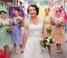 Retro bridal party